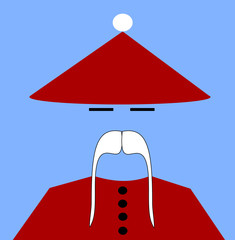 asian man wearing christmas conical hat