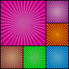 Colourful retro backgrounds 6 sets