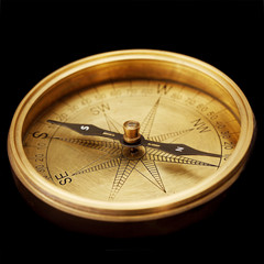 Close up of antique compass
