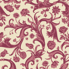 Seamless vector dark vintage floral pattern in baroque style
