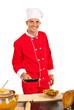 Chef preparing macaroni