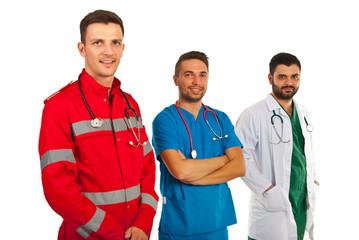 Happy doctors in a row