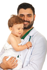Doctor man with baby