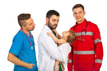 Baby boy meeting doctors