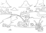 fishing boy for coloring book.