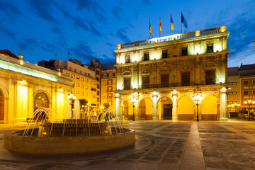 City Hall at  Castellon de la Plana in night