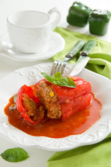 Red peppers stuffed with meat and vegetables.