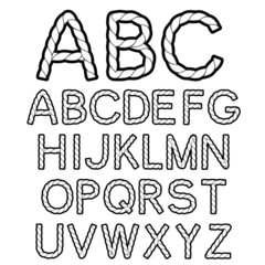 Vector black white rope font alphabet