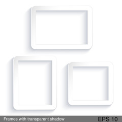 Vector rectangle white frames with transparent shadow