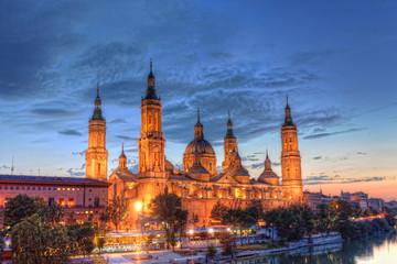 Basilica Del Pilar in Zaragoza in night illumination, Spain