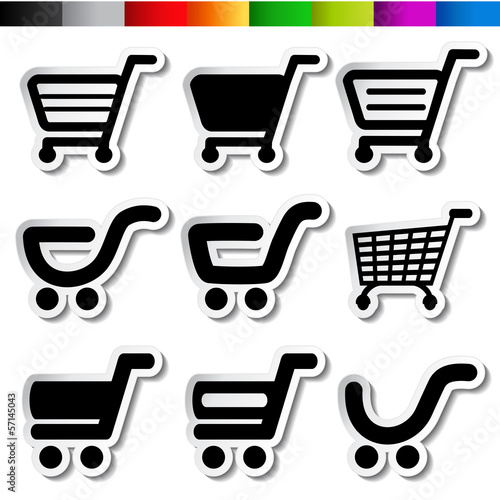 Vector stickers of shopping cart, trolley, item, button