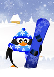 Penguin with snowboard