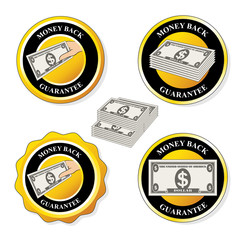 Vector money back guarantee icons, circular stickers with dollar