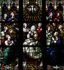 Pentecost in stained glass