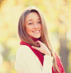 Teen girl in autumn outdoor