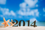 2014 letters with starfish, ocean , beach and seascape, shallow
