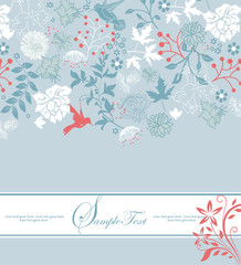 vintage blue floral invitation card