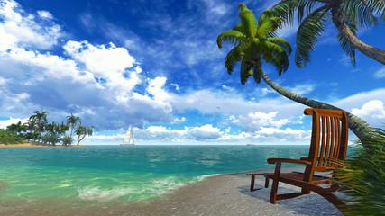 Palm trees and deckchair on a tropical beach