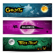 Happy Halloween banner set design, vector