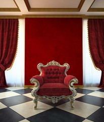 Red armchair room in classic style