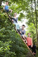 Four siblings sitting on a wooden ladder