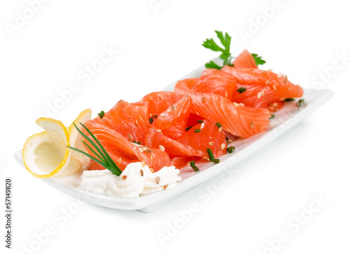 Sliced ​​salmon