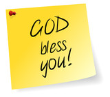 Yellow Sticky Note With God Bless You Message