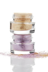 Gold and purple powder eye shadow
