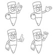 Black and white smiling cartoon pencils with various gestures.