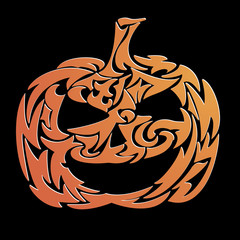 Decorative haloween pumpkin - vector