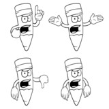 Black and white angry cartoon pencils with various gestures.