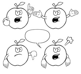 Black and white angry apples with various gestures.