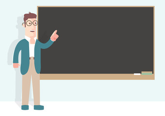Professor in front of a black board retro style