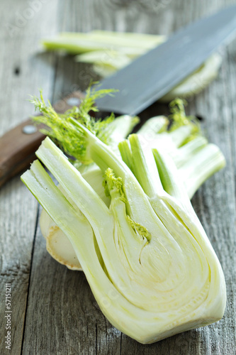 Cut fennel on a wooden table