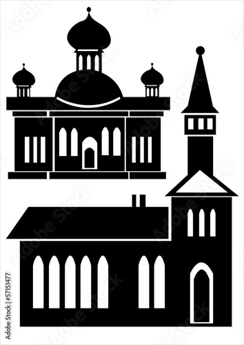 churches icon set isolated on white background