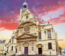 Church of Saint-Etienne-du-Mont (1494-1624) in Paris near Panthe