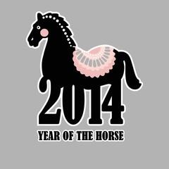 New year 2014, horse, calendar, vector illustration