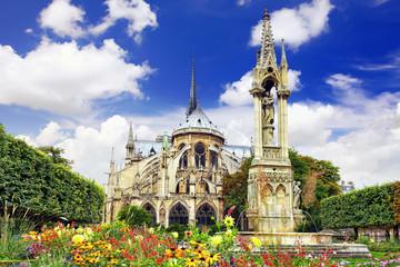 Notre Dame de Paris Cathedral, garden with flowers.Paris. France
