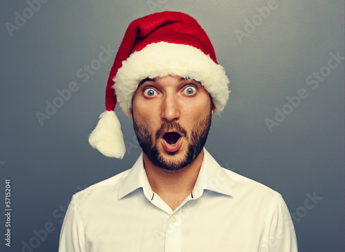 surprised man in red christmas hat