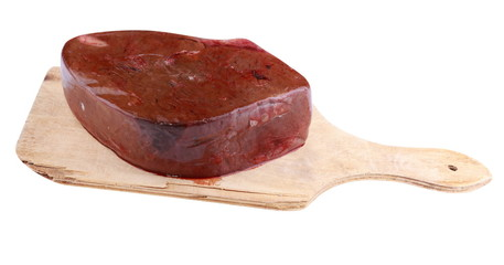 Piece Meat on Wood Board Isolated