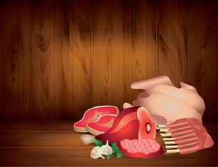 Meat and greens on wooden background in vector