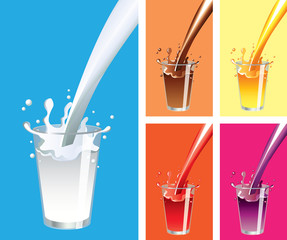 Milk, juice splashes and glass vector set