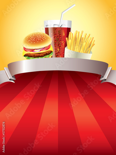 Hamburger, potatoes and cola on red background