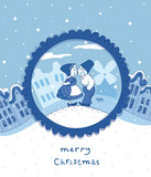 Delft blue Christmas card