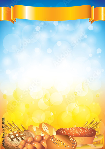 Breads on field background in vector