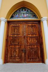 Old wooden church door, Christ.
