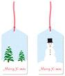 merry xmas anhänger schneemann tannenbäume