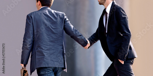 Handshake of two businessmen. Agreement.