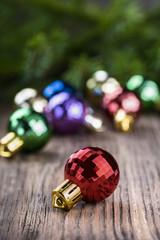 Christmas ball on wood background