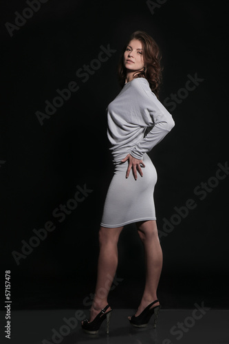 beautiful girl in gray dress